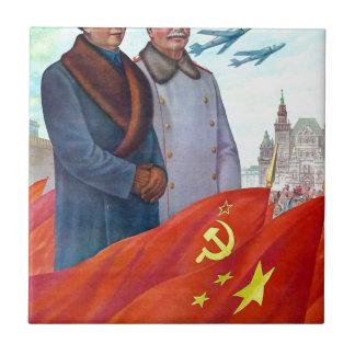 Original propaganda Mao tse tung and Joseph Stalin Tile