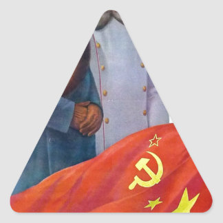 Original propaganda Mao tse tung and Joseph Stalin Triangle Sticker