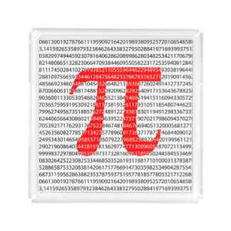 Original red number pi day mathematical symbol acrylic tray