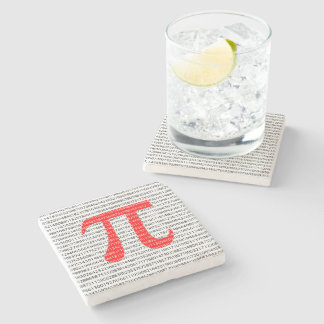 Original red number pi day mathematical symbol stone coaster