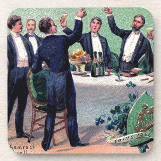 Original Saint patrick's day drink vintage poster Beverage Coasters