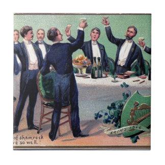 Original Saint patrick's day drink vintage poster Tile