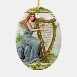 Original Saint patrick's day harp & lady Ceramic Ornament