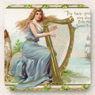 Original Saint patrick's day harp & lady Drink Coaster
