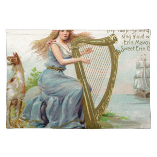Original Saint patrick's day harp & lady Placemat