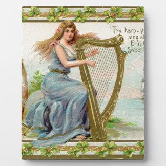 Original Saint patrick's day harp & lady Plaque