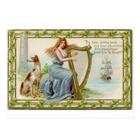 Original Saint patrick's day harp & lady Postcard