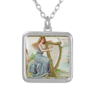Original Saint patrick's day harp & lady Silver Plated Necklace