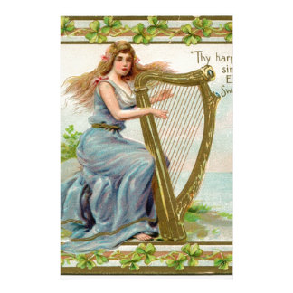 Original Saint patrick's day harp & lady Stationery