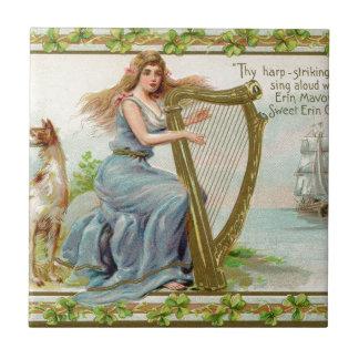 Original Saint patrick's day harp & lady Tile