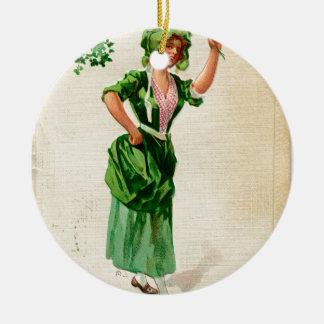 Original Saint patrick's day lady in green Ceramic Ornament