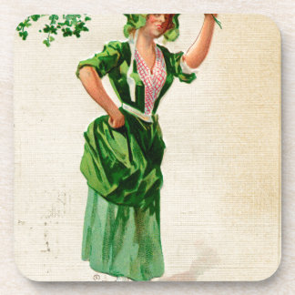 Original Saint patrick's day lady in green Coasters