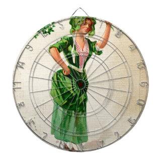 Original Saint patrick's day lady in green Dartboard With Darts
