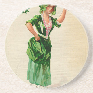 Original Saint patrick's day lady in green Drink Coasters
