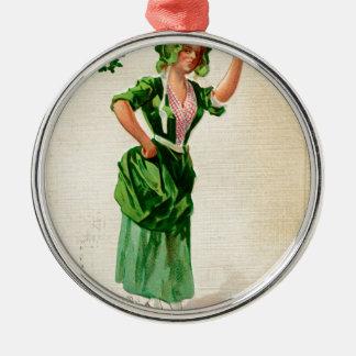 Original Saint patrick's day lady in green Metal Ornament