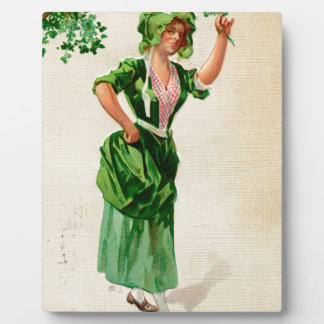 Original Saint patrick's day lady in green Plaque