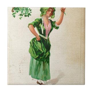 Original Saint patrick's day lady in green Tile