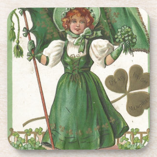 Original Saint patrick's day lady vintage poster Beverage Coaster