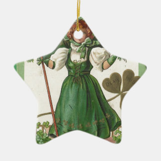 Original Saint patrick's day lady vintage poster Ceramic Ornament
