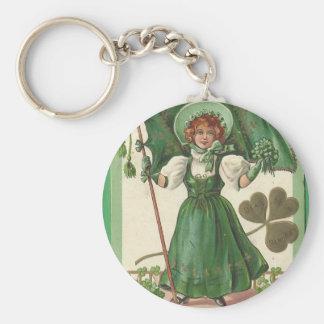 Original Saint patrick's day lady vintage poster Keychain