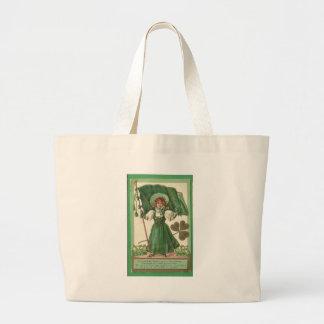 Original Saint patrick's day lady vintage poster Large Tote Bag
