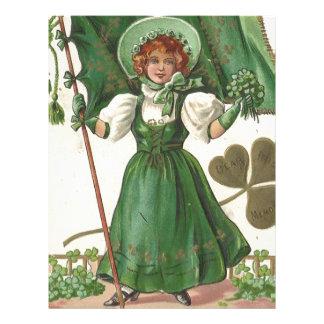 Original Saint patrick's day lady vintage poster Letterhead