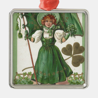 Original Saint patrick's day lady vintage poster Metal Ornament