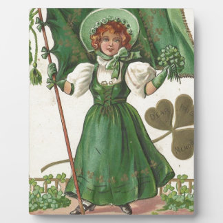 Original Saint patrick's day lady vintage poster Plaque