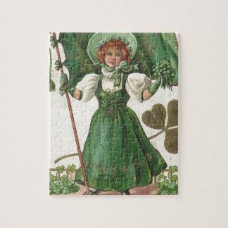 Original Saint patrick's day lady vintage poster Puzzles