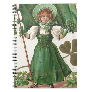 Original Saint patrick's day lady vintage poster Spiral Notebook