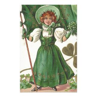 Original Saint patrick's day lady vintage poster Stationery
