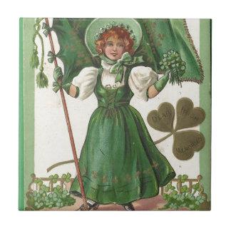 Original Saint patrick's day lady vintage poster Tile