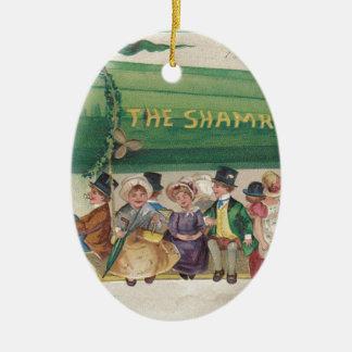 Original Saint Patrick's day vintage shamrock Ceramic Ornament