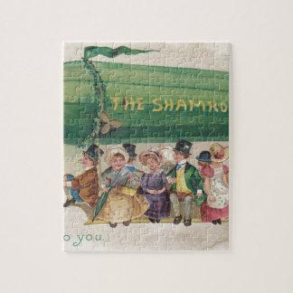 Original Saint Patrick's day vintage shamrock Jigsaw Puzzle