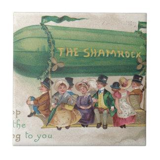 Original Saint Patrick's day vintage shamrock Tile