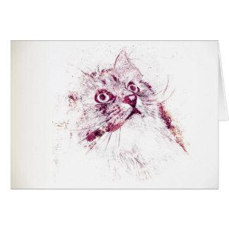 Original Siberian Cat Note Card