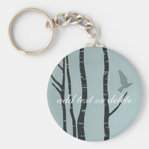 Original silver birch, bird artwork keychain