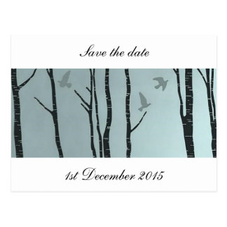 Original silver birch, bird - wedding, civil postcard