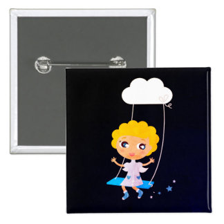 Original square button with little Angel