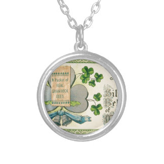 Original St Patrick's day vintage irish draw Silver Plated Necklace