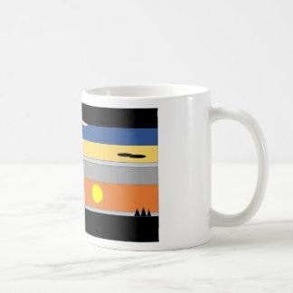 original sunset graphic classic white coffee mug