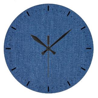 Original textile fabric blue fashion jean denim large clock