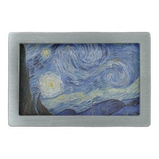 Original the starry night paint rectangular belt buckle