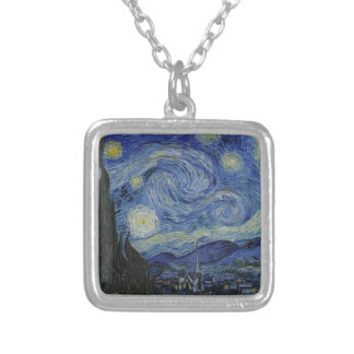 Original the starry night paint silver plated necklace