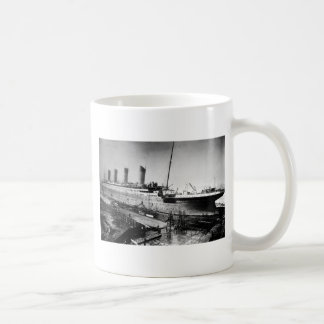 original titanic picture under construction coffee mug