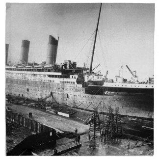 original titanic picture under construction napkin