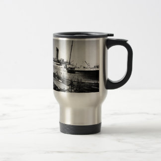 original titanic picture under construction travel mug