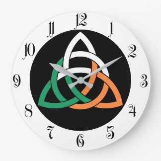 Original Triquetra circle celtic knot Ireland Flag Large Clock