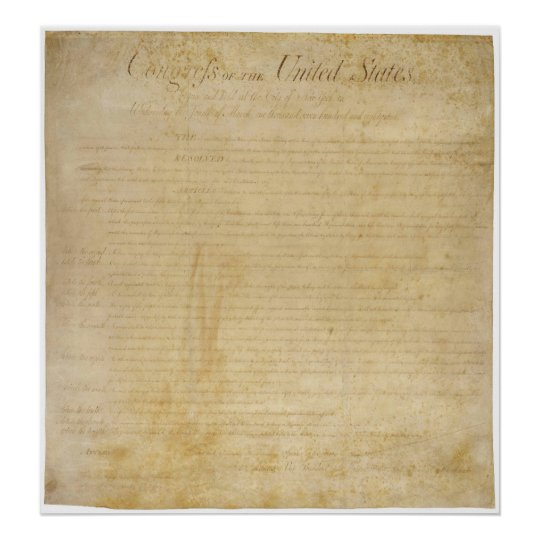 ORIGINAL United States Constitution Bill of Rights Poster