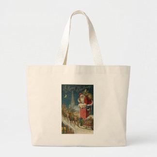 Original vintage 1906 Santa clous poster Large Tote Bag